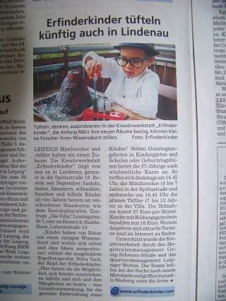 Bildinhalt: Erfinderkinder tüfteln künftig auch in Lindenau | Der Erfinderkinder-Artikel im Amtsblatt / Foto: MM GSS