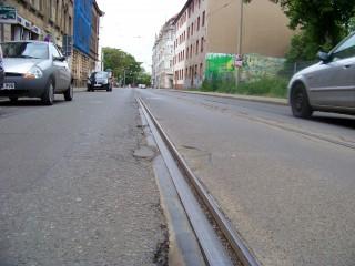 Bildinhalt:  Gleisbauarbeiten an der Georg-Schwarz-Straße, vom 19.05. - 14.06.2014   In der Georg-Schwarz-Straße wird an den Gleisen gebaut / Foto: Enrico Engelhardt