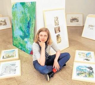 Bildinhalt: Künstlerin Enders zeichnet Reisetagebuch  | Aus ihren Reisen erwachsen Bilder: Die Leipziger Künstlerin Katja Enders / Foto: André Kempner