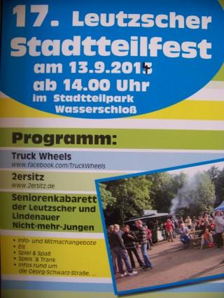 Bildinhalt: BürgerVerein Leutzsch e. V. feiert 17. Leutzscher Stadtteilfest, am 13. 09. 2014  | Das Plakat zum 17. Leutzscher Stadtteilfest / Plakat: BV Leutzsch