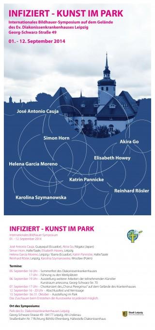 Bildinhalt: Bildhauer-Symposium im Park des Diakonissenkrankenhauses | Plakat zu INFIZIERT - Kunst im Park / Plakat: Diakonissenkrankenhaus