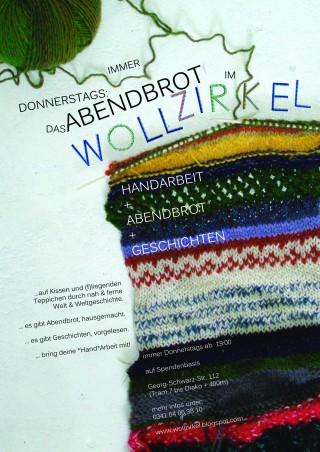 WOLLZIRKELABENDBROT zur Eröffnung | Einladung zum WOLLZIRKELABENDBROT / Flyer: Wollzirkel, Kristin Häuser
