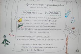 Bildinhalt: FÄUSTLINGE und GRÜNZEUG in der Georg-Schwarz-Straße | Die Einladung zur Veranstaltung hängt in der Straße aus / Foto: Enrico Engelhardt