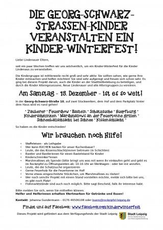 DIE GEORG-SCHWARZ-STRASSEN-KINDER VERANSTALTEN EIN KINDER-WINTERFEST! | Der Aufruf zum Kinder-Winterfest / Plakat: Johanna Gundermann