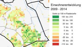 Bildinhalt: Entwicklung der Einwohner_innenzahlen an der GSS von 2009 bis 2014 | Bildrechte:  Stadt Leipzig, statistik.leipzig.de/