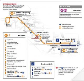 Bildinhalt: Plan für den Schienenersatzverkehr der Linie 7 am 4. Juli | Karte: LVB