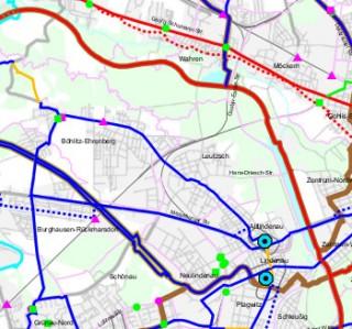 Deckensanierung der William-Zipperer-Straße zwischen Hans-Driesch-Straße und Georg-Schwarz-Straße | Ausschnitt aus dem Radverkehrsentwicklungsplan mit der W.-Zipperer-Straße als Hauptradverbindung