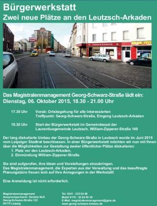 Bildinhalt: Zwei neue Plätze an den Leutzsch-Arkaden - Bürgerwerkstatt am 6.10. |