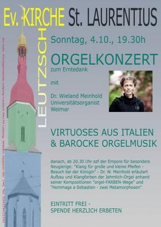 Bildinhalt: Romantische Orgelmusik zum Erntedank am 4.10. in der St.-Laurentiuskirche Leutzsch |