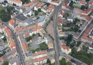 Bildinhalt: Bürger_inneninformation zum Verkehrskonzept Altlindenau am 3. März 2016 | Luftbild vom Lindenauer Markt. Bildrechte: Stadtverwaltung Leipzig