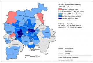 Bildinhalt: Bevölkerungsentwicklung in Leipzig aus dem Sozialreport der Stadt Leipzig vom 27.06.2016 |