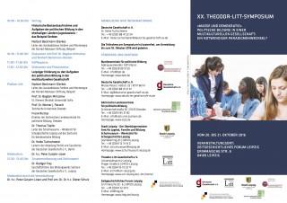 Bildinhalt: Symposium zur politischen Bildung in der multikulturellen Gesellschaft | Flyer Litt-Symposium