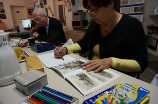 Bildinhalt: Mal- und Zeichenzirkel in Leutzsch | Inge und Horst, Foto S. Ruccius