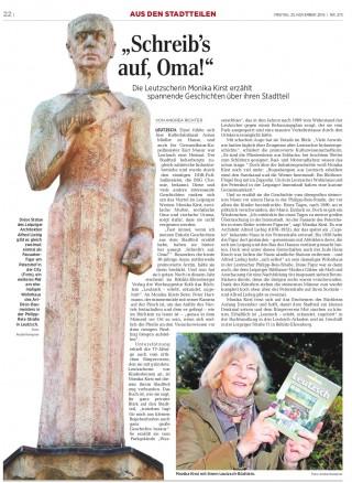 Bildinhalt: Leutzscher Geschichten in neuem Büchlein- LVZ berichtet | LVZ, 25.11.16, Fotos: André Kempner