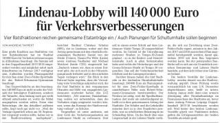 Bildinhalt: Lindenau-Lobby will 140000 Euro für Verkehrsverbesserungen  | Artikel LVZ, 25.11.16, Seite 17
