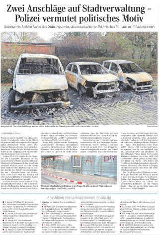 Bildinhalt: Brandanschlag auf Autos des Ordnungsamtes am Rathaus Leutzsch | LVZ Artikel vom 8.12.16, S.17