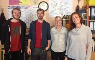 Bildinhalt: Kojule feiert 25 Jahre Offene Kinder- und Jugendarbeit. | aktuelles Kojule Team: Gabriel Löhr, Mario Sohl, Christin Jünemann und Nadine Wohlrab
