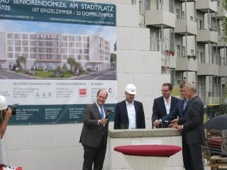 Grundsteinlegung zum Bau eines Seniorenwohnheim am Stadtplatz Leutzsch |