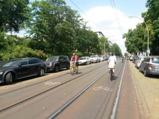 Umfrage zur Situation des Radverkehrs in der Georg-Schwarz-Straße im Rahmen der europäischen Mobilit | Radpiktogramme zwischen den Gleisen, Berlin, Kastanienallee