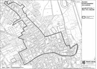 Bildinhalt: Stadtrat entscheidet über die Einrichtung eines Milieuschutzgebietes in Altlindenau und Leutzsch | Gebietsumgriff Soziale Erhaltungssatzung, Stadt Leipzig