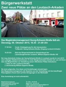 Bildinhalt: Themenabend - Platzgestaltung an den Leutzsch-Arkaden - 06.10.2015